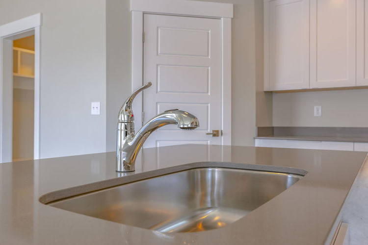 Metallic structure in bathroom at home