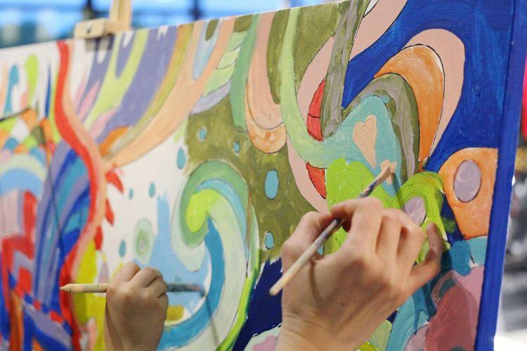 Multi Colored Human Hand Drawing Draw Art, Drawing, Creativity Art