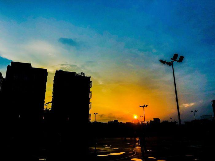 Sky Sunset Silhouette Architecture City Building Exterior Built Structure
