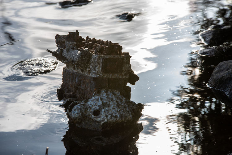 Motor Trash Abandoned Beauty In Nature Day High Angle View Lake Motion Nature No People Outdoors Reflection Rock Rock - Object Solid Tranquility Vertebrate Water Waterfront Wood - Material