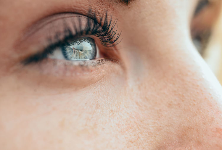 Cropped eye of young woman