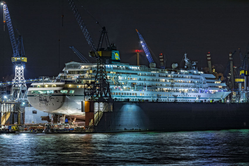 CruiseShipAmadea Amadea Blue Commercial Dock Crane - Construction Machinery Cruise Ship Elbe River Hamburg Harbour Harbor Illuminated Industry Nautical Vessel Night Night Photography Outdoors Repairing River Sea Sky Transportation Water Waterfront