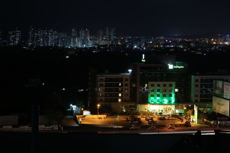 Built Structure Calm Night Chilling On Roof City Cityscape Cool Breez Illuminated Illuminated Cityscape IT Park And Hotel IT Park,pune Night Pune City Sitting On The Roof Sky Software Industry