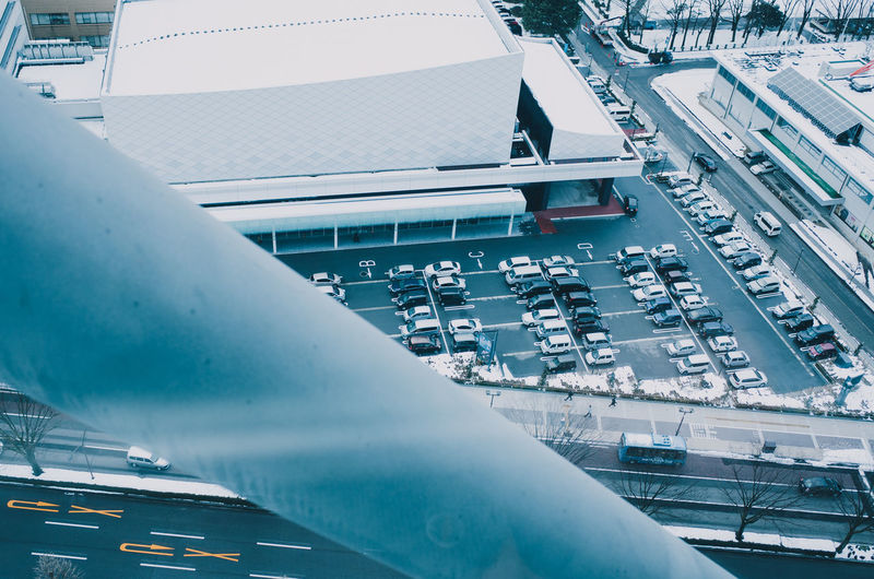 High angle view of airplane in winter