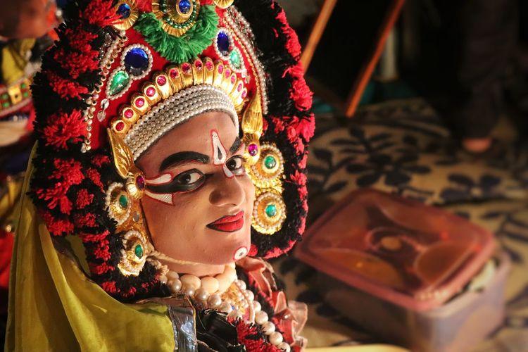 Portrait of man wearing mask- yakshagana, an indian dance