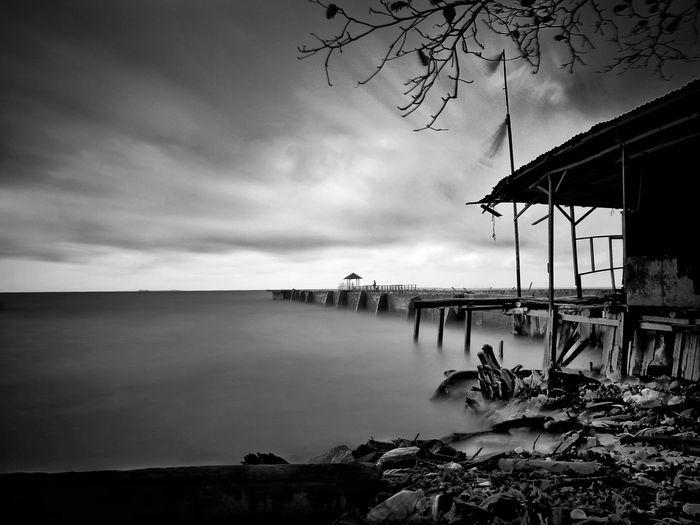 sunrise in black and white
