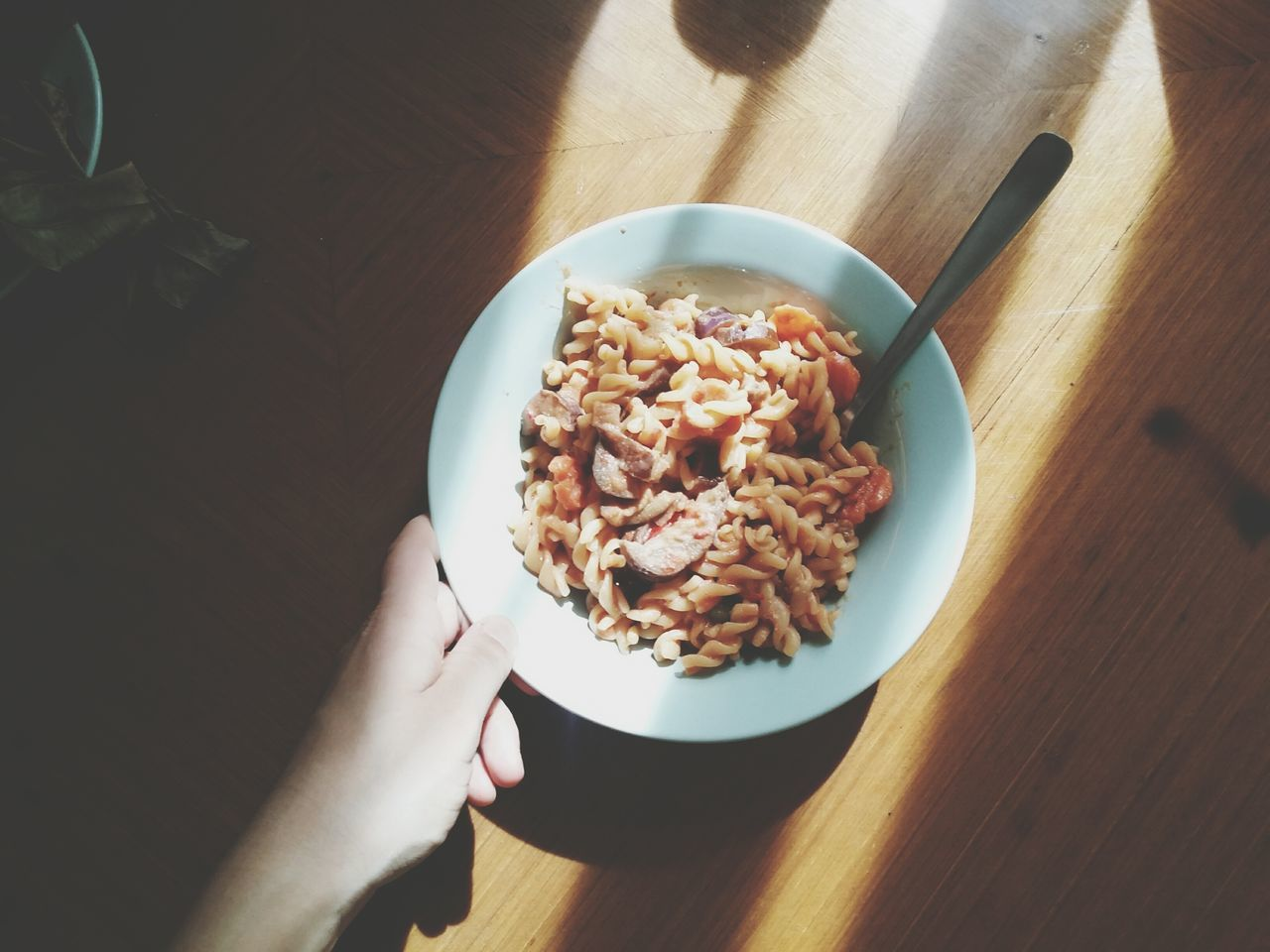 Close up of hand holding plate with pasta in sunlight