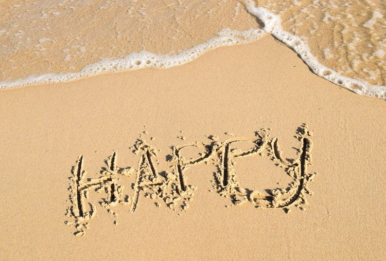 the word happy on sandy beach Nature Beautiful Outdoors Lifestyles Happy Happiness View Summer Water Copy Space Top View Travel Sandy Beach Splash Word Brown Color Seasonal Vocation Beach Sand Text Handwriting  High Angle View Single Word Message Written Drawn