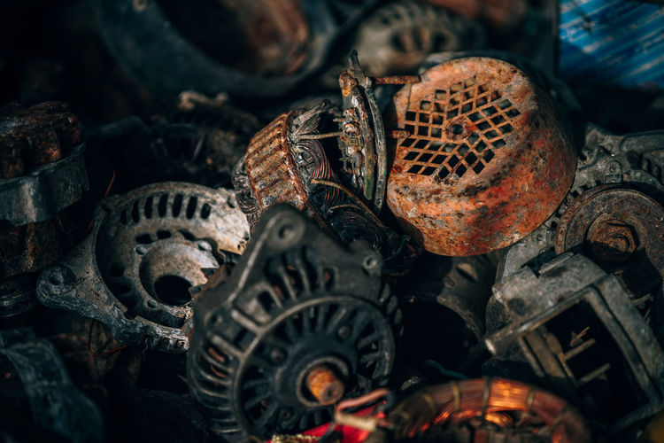 Close-up of rusty metal objects