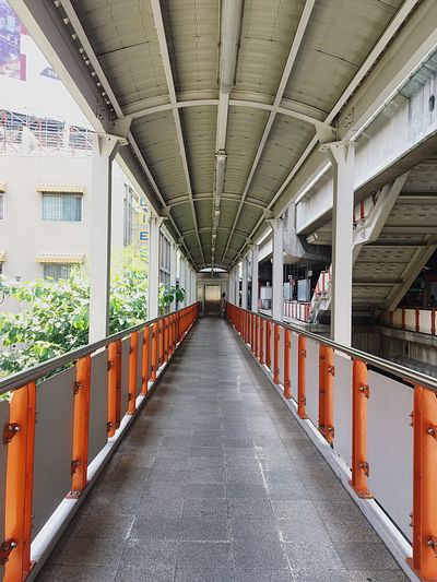 View of empty footbridge