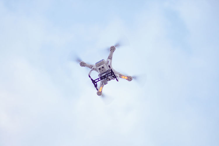 quadcopter Quadcopter Drone  Aerial Shot Videographer Flying Cyberspace City Mid-air Sky