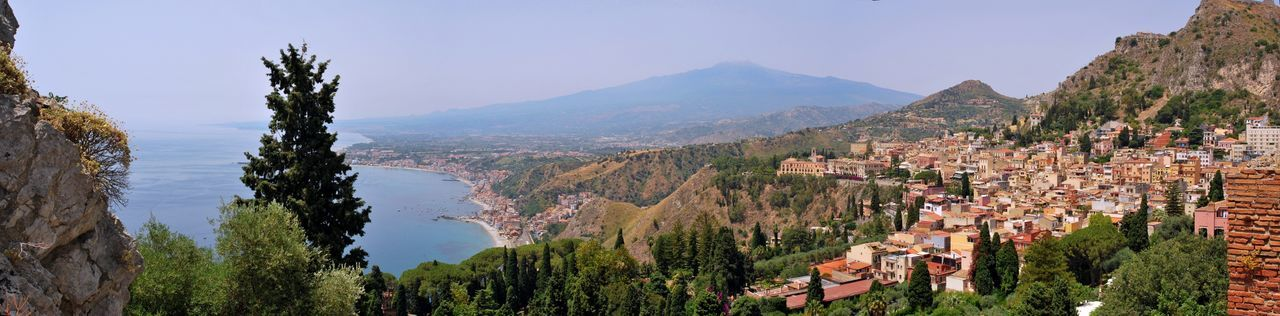 Architecture Beauty In Nature Building Exterior Built Structure City Cityscape Day House Landscape Mountain Mountain Range Nature No People Outdoors Panoramic Scenics Sky Town Travel Destinations Tree Taormina Taormina And Etna Taormina Italy Etna, Mountain, Sicily, Sicily, Italy