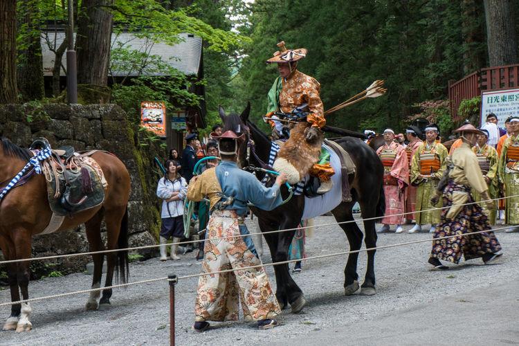 Parade of participants in the yabusame tournament. Toshogu shrine, Nikko Archery Horse Japan Nikko Toshogu Shrine Traditional Yabusame Yumi