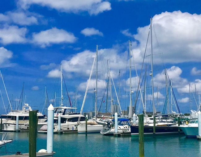 Harbor View Nautical Vessel Water Transportation Sky Cloud - Sky Mode Of Transportation Sailboat Moored Sea Day Harbor Pole Mast Nature No People Yacht Beauty In Nature Travel Blue Outdoors