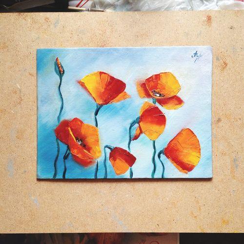 живопись искусство цветы маки Painting Art Flowers Poppies