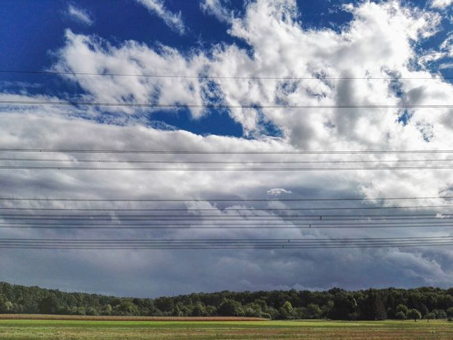 Kabel Cable Electricity  Cloud - Sky Cloud Day Hochspannungsleitung Power Line  Sky Himmel Wolken