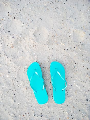 flip flops on the beach Nobody Flip Flops Flipflops Blue Copy Space Summer Blue Shoe High Angle View No People Directly Above Day Two Objects Pair Sand Land Beach Sandal Outdoors Flip-flop Close-up Slipper