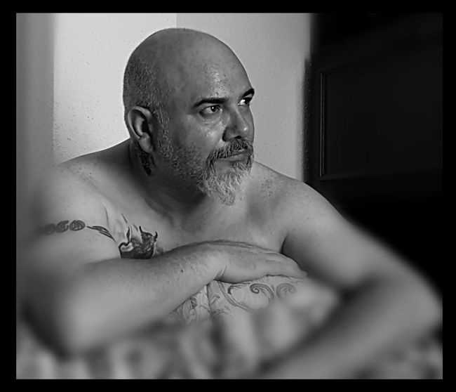 Myself Portrait Shirtless Shaved Head Men Looking At Camera Individuality Close-up