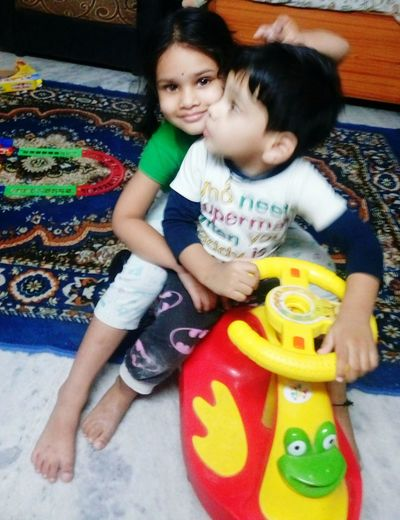 Sister Brother Thing.! Love Giving Ride Indoors  Childhood Happiness Portrait Enjoyment My