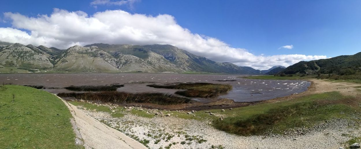 Mountain Scenics - Nature Environment Water Cloud - Sky Landscape Sky Beauty In Nature Mountain Range Nature Day No People Road Land Tranquil Scene Tranquility Non-urban Scene Lake Outdoors Semi-arid Panoramic Photography Panoramic Lago Matese Caserta