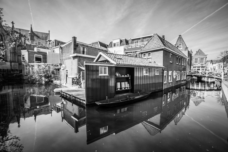 Reflections in B&W Water Architecture Built Structure Reflection Building Exterior Waterfront Building Residential District Nautical Vessel Nature Sky No People Day House Transportation City Canal Mode Of Transportation Outdoors Row House
