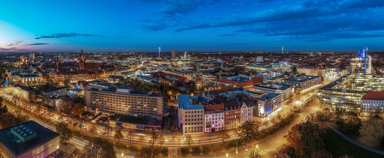 Hannover Skyline during an evening in last autumn Building Exterior Built Structure Architecture City Sky High Angle View Cityscape Building Illuminated No People Cloud - Sky Nature Night Residential District City Life Street Travel Destinations Dusk Office Building Exterior Skyscraper Hannover Skyline Panorama Cityscape EyeEm Best Shots
