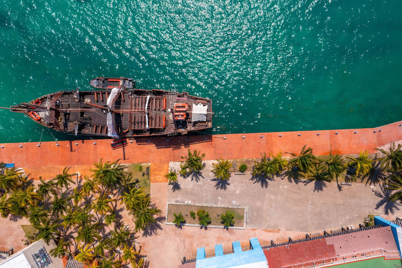 Aerial view of jolly roger pirate ship in cancun
