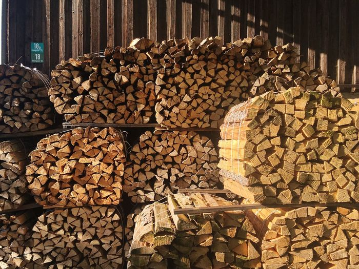 Firewood stacked at industry
