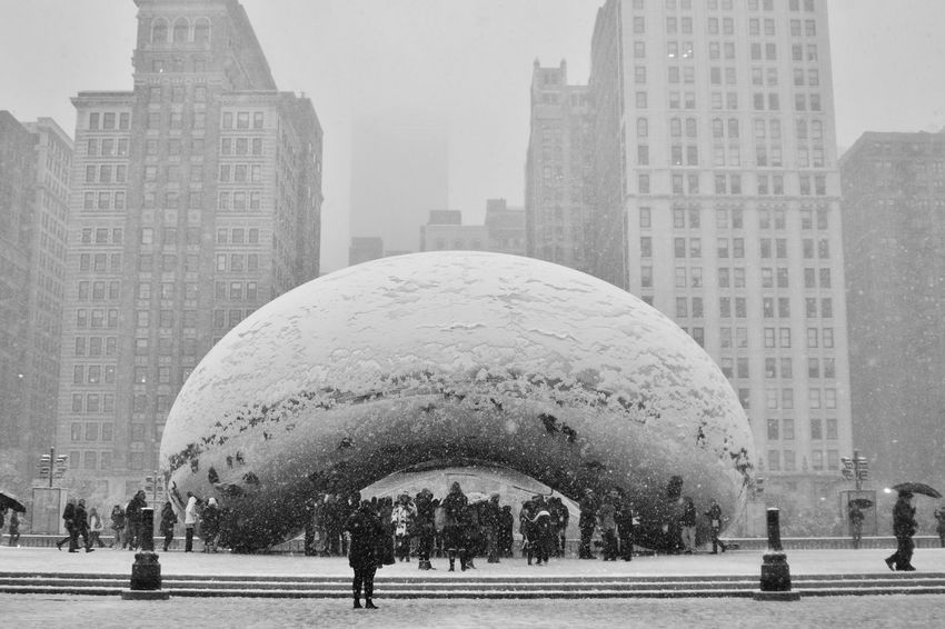 Last time I saw The Bean , it was covered with Snow Cloud Gate Chicago Blizzard City Art Nikonphotographer Urban Exploration Nikon Blackandwhite Photography Black & White Monochrome Monochrome Photography EyeEm Gallery Windy City Black&white