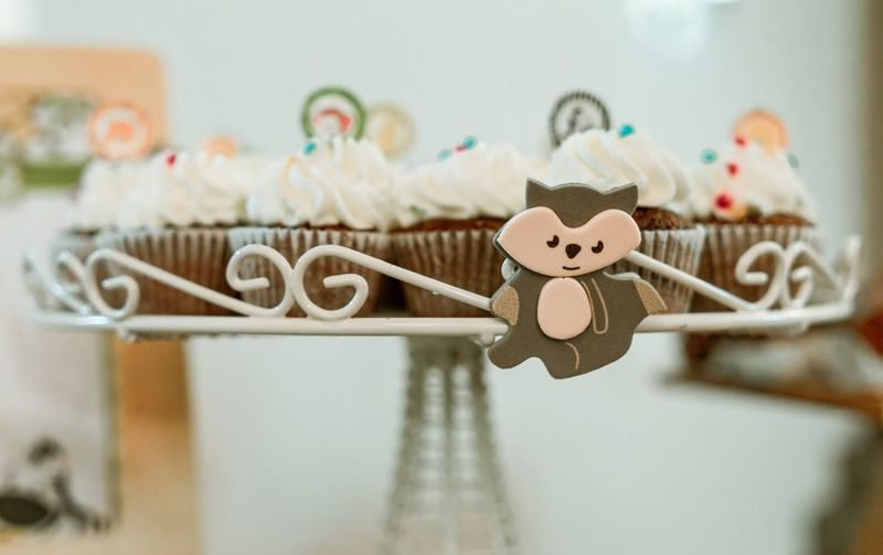 Close-up of cupcakes on table at home