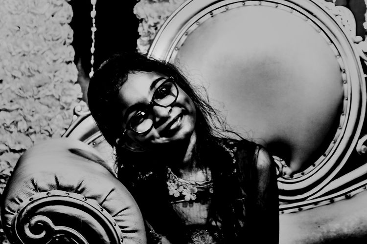 EyeEm Ready   One Person One Woman Only Portrait Real People Day Arts Culture And Entertainment EyeEmNewHere Girl Smile Cute Girl Cute Weading Girl Portrait Girl Smiling Girl Smile Beautiful Innocence Happiness Babygirl Blackandwhite Eyes Eyelashes Softskin Smiling Face Smiling Girl