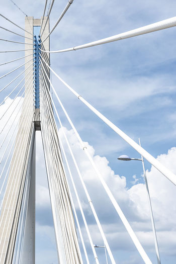 Rion-Antirion Bridge Street Of Corinth Modern Architecture Lantern Architectural Column Cloud - Sky Sky Low Angle View Built Structure Connection Architecture Bridge - Man Made Structure Bridge Cable-stayed Bridge Engineering Day Transportation Nature Suspension Bridge Outdoors Travel Tourism Metal Sunlight