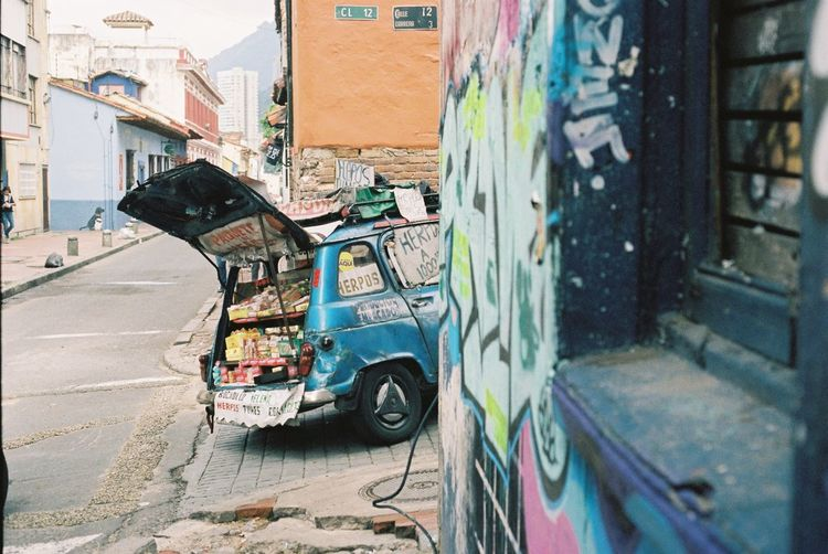 35mm Film Analogue Photography Architecture Bogotá Building Exterior Built Structure Day Filmisnotdead Land Vehicle No People Outdoors Stationary Street Art