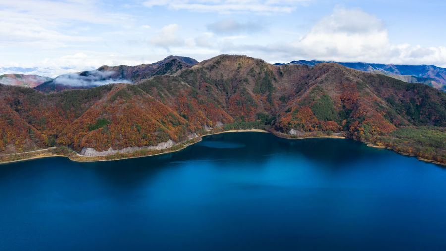 Nature landscape aerial view lake shojiko and mountain at autumn in japan