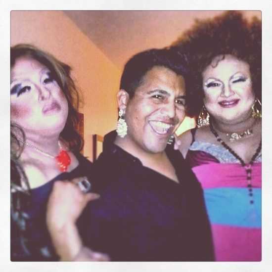 My sistas viv and desi quening out my husband @ritzy_rudy lol they Madevmy bday so special HamburgerMarys Love Husband Sis