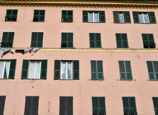 rows of windows Pink Color Pink And Green Travel Facade Building City Building Italian Architecture Liguria,Italy Genova Pastel Colors Pink House Rows Of Windows Window Architecture Building Exterior Façade Full Frame Outdoors Day Backgrounds No People Colour Your Horizn