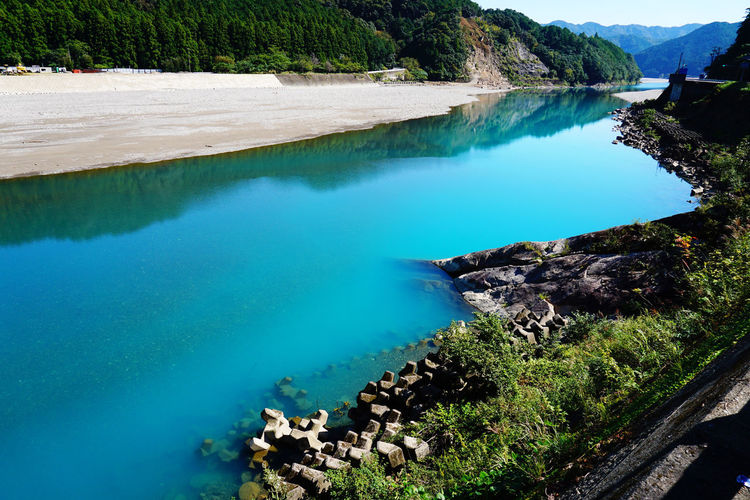 2015  Beauty In Nature Blue Water Bule River Coal Japan Kumano River Landscape Mountain Nature Outdoors River Scenics Sky Tree Wakayama Water World Heritage 川 温泉 熊野川