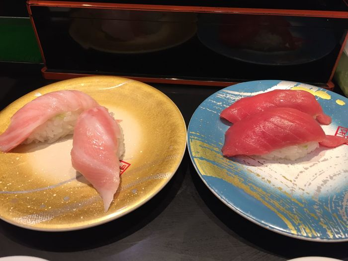 Conveyor Belt Conveyor Belt Sushi Food Japan Japanese  Japanese Food Narita Airport Salmon Sushi Toro Tuna Yellowtail