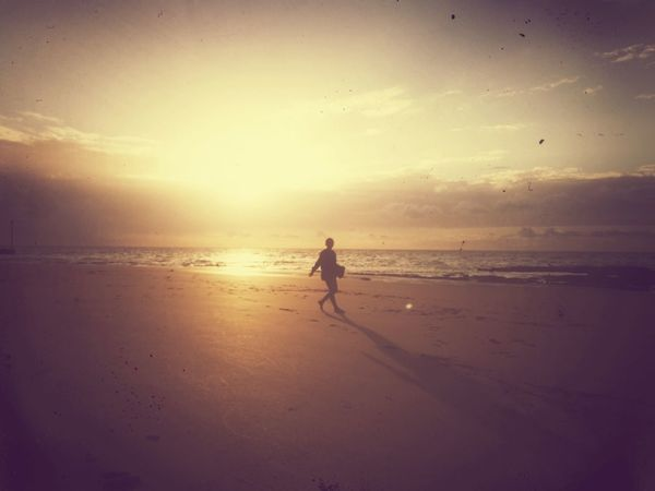 Beach Sea Sunset Sand One Person Silhouette Full Length Summer Vacations People Water Outdoors Nature Sky Horizon Over Water Running Girl