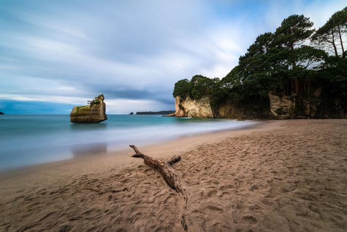 A long exposure at Cathedral Cove Beach Beauty In Nature Flow  Forest Long Exposure Motion Movember Nature New Zealand No People Outdoors Sand Scenics Sea Sky Tranquility Travel Travel Destinations Tree Trunk Water Woods