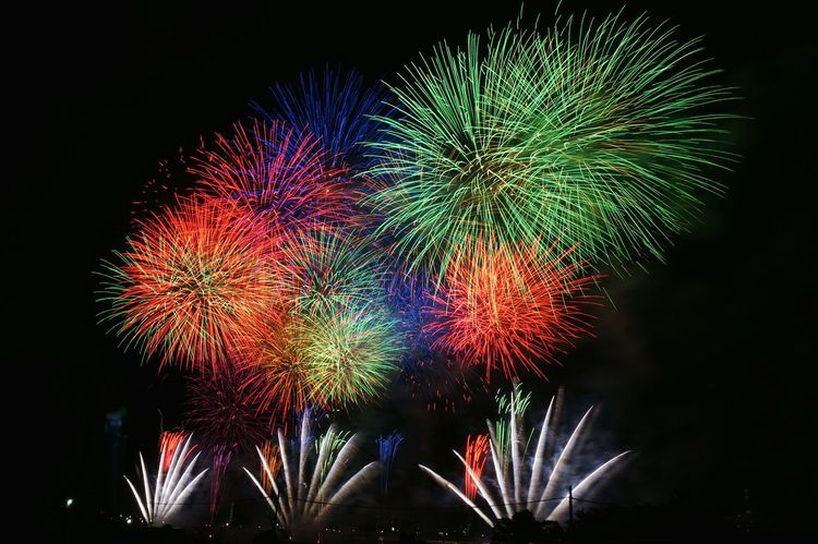Firework Display Arts Culture And Entertainment Exploding Event Night Multi Colored Glowing Awe Low Angle View No People Outdoors Illuminated Sky Beauty Fireworks Japan Summer Views