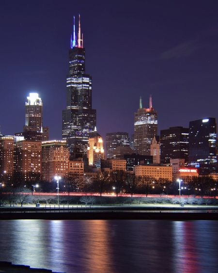 Chicago at Night. EyeEm Best Shots Eyemgallery EyeEm Selects Chicago Illinois Photography Longexposure ChiTown Cityscape Urban Skyline Chicago Photographer Reflection City Cityscape Urban Skyline Illuminated Modern Skyscraper Downtown District Tower Office Building Exterior Waterfront My Best Photo