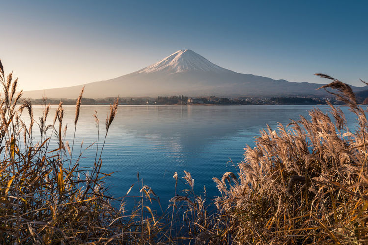 Scenic View Of Lake Against Mountain And Clear Sky