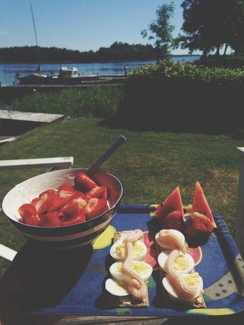 Summer Breakfast Food Yummie Life Sun Boats Archipelago Sweden