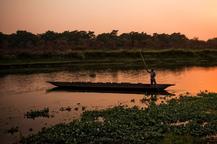 Boat Eyemnaturelover Eyemphotography Nepal, Reflection Relaxing Moments River River, Sunset Silhouettes Sunset, Travel, Water