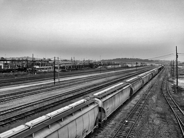 Railroad Track Sunrise Blackandwhite Railroad Track Landscape