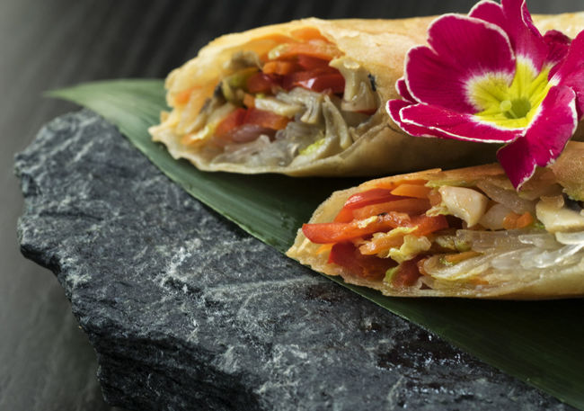 Asian-style Pancakes crunchy with vegetable filling, served on slate Asian  Asian-style Black Close-up Crunchy Day Fast Food Filling Flower Food Freshness Mexican Food No People Pancakes Ready-to-eat Red Sandwich Served Slate Stone Style Vegan Vegetable Vegeterian