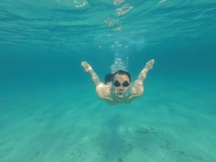Diving adriatic sea Underwaterphoto Tauchen Tauchgang Schwimmen Adriatic Sea Gopro Goprohero5session Goprohero5 underwater photography UnderSea Swimming Water Underwater Portrait Sea Snorkeling Looking At Camera Turquoise Colored Underwater Diving