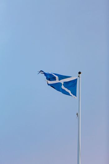 EyeEm Selects Flag Blue Low Angle View Clear Sky Wind Flag Pole Saltire Scotland Castle Tower No People Day Outdoors Sky Scottish Flag Scottish