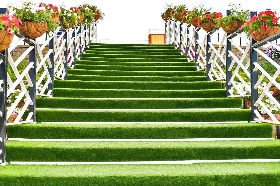 garden stair Steps Steps And Staircases Staircase Low Angle View Railing The Way Forward Park - Man Made Space Day Green Color Outdoors Stairway Repetition Sky Stone Material Multi Colored Garden Stair Stairway To Heaven Stairs In Nature